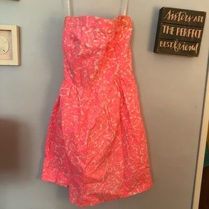 Strapless bright pink Lilly Pulitzer dress